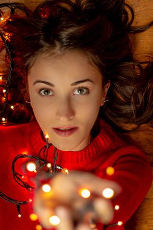 Ritratto con luci di Natale