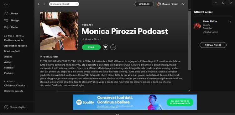 monica pirozzi podcast su spotify