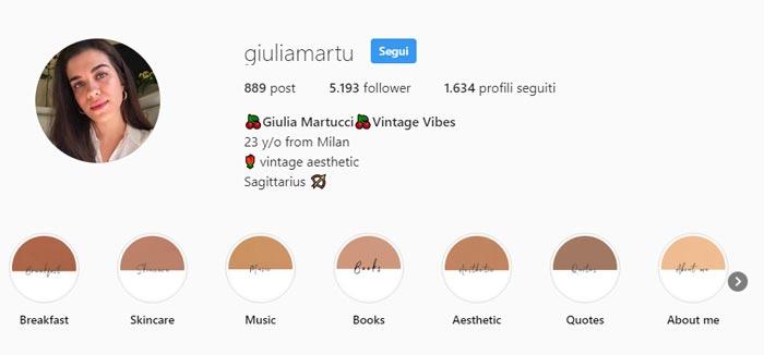 Giulia Martucci Profilo Instagram