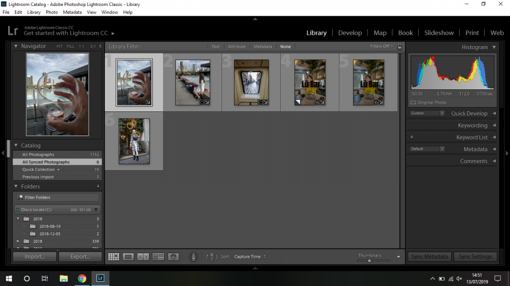 dove trovate foto sincronizzate su Lightroom