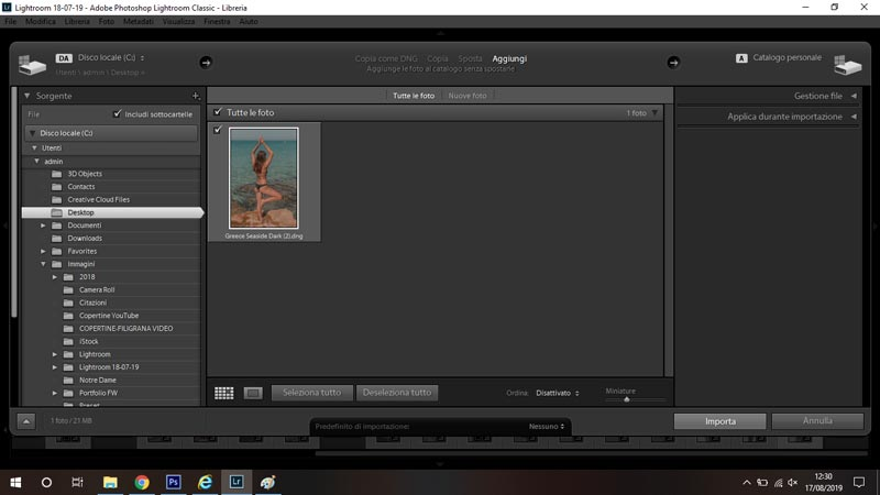 importa foto in lightroom