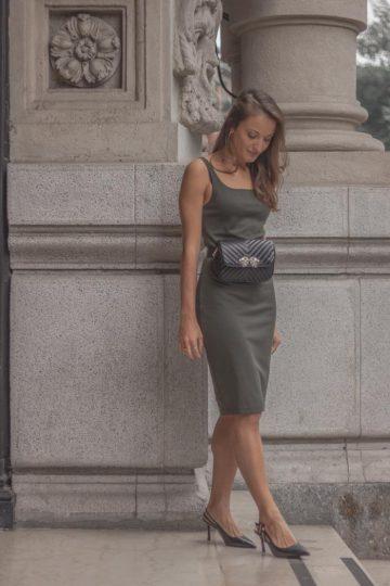 Monica Pirozzi con Vestito Verde Zara