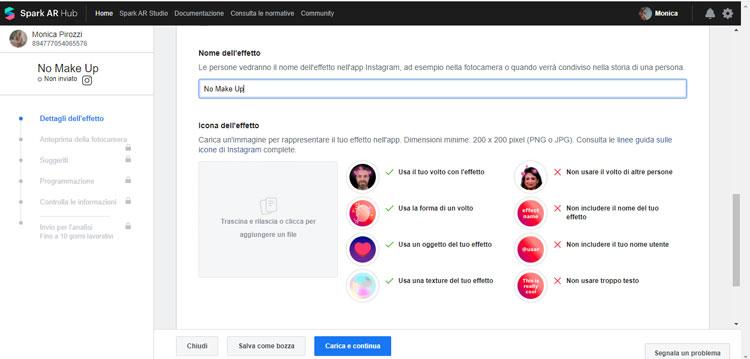 Scegli nome e icona dell'effetto - Spark AR Studio Facebook