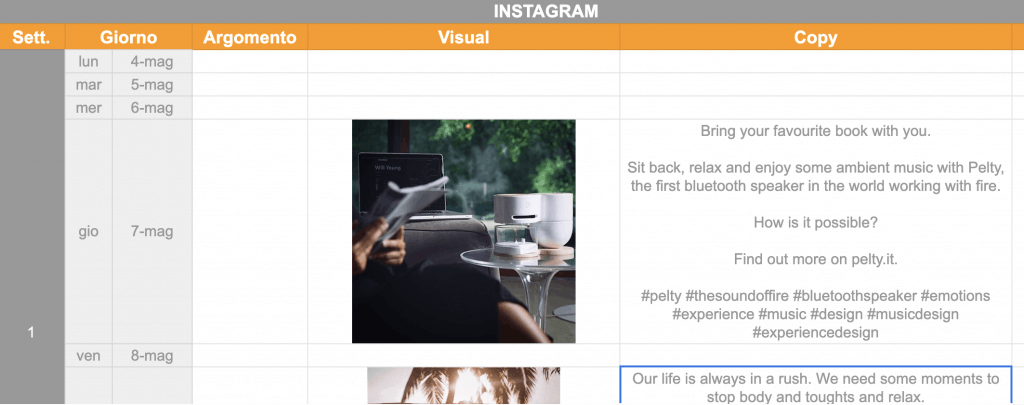 Creare piano editoriale per Instagram