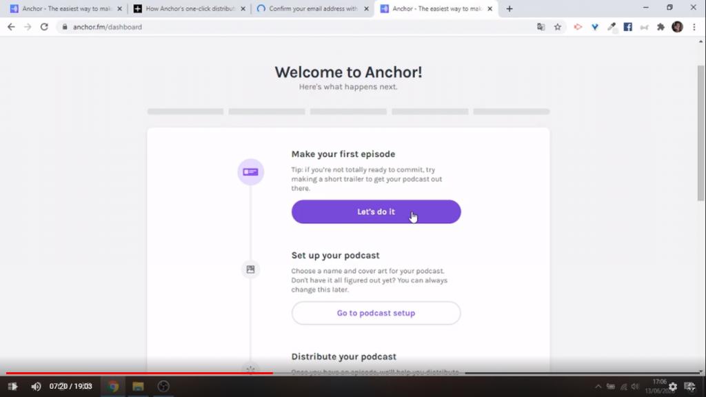 Creare prima puntata su Anchor