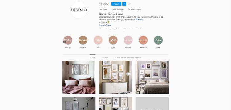 Contattare profilo Instagram Desenio Poster