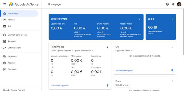 Dashboard Google Adsense